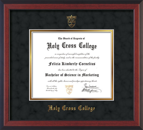 Image of Holy Cross College Diploma Frame - Cherry Reverse - w/Embossed HCC Seal & Name - Black Suede on Gold mat