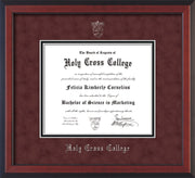 Image of Holy Cross College Diploma Frame - Cherry Reverse - w/Silver Embossed HCC Seal & Name - Maroon Suede on Black mat