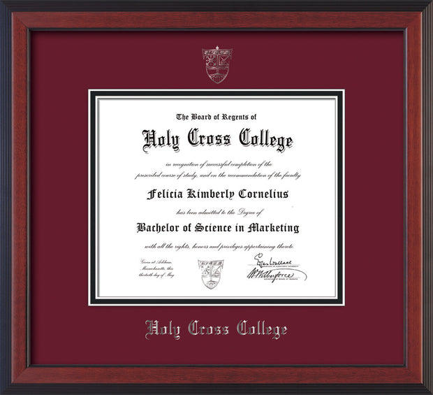 Image of Holy Cross College Diploma Frame - Cherry Reverse - w/Silver Embossed HCC Seal & Name - Maroon on Black mat