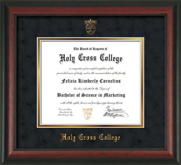 Image of Holy Cross College Diploma Frame - Rosewood - w/Embossed HCC Seal & Name - Black Suede on Gold mat
