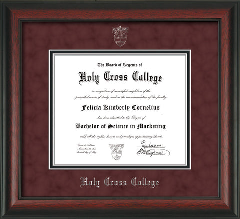 Image of Holy Cross College Diploma Frame - Rosewood - w/Silver Embossed HCC Seal & Name - Maroon Suede on Black mat