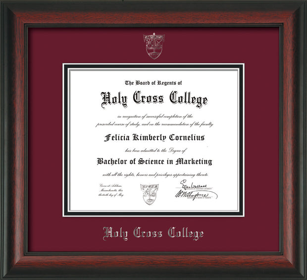 Image of Holy Cross College Diploma Frame - Rosewood - w/Silver Embossed HCC Seal & Name - Maroon on Black mat