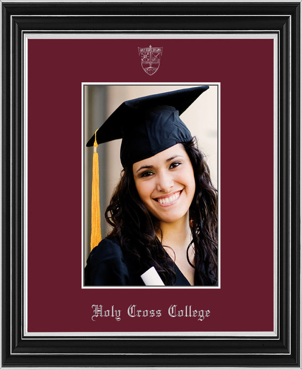 Image of Holy Cross College 5 x 7 Photo Frame - Satin Silver - w/Silver Official Embossing of HCC Seal & Name - Single Maroon mat