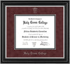 Image of Holy Cross College Diploma Frame - Satin Silver - w/Silver Embossed HCC Seal & Name - Maroon Suede on Black mat