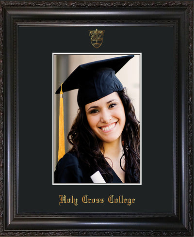 Image of Holy Cross College 5 x 7 Photo Frame - Vintage Black Scoop - w/Official Embossing of HCC Seal & Name - Single Black mat