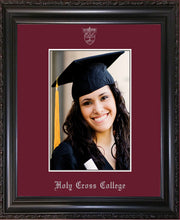 Holy Cross College 5 x 7 Photo Frame - Vintage Black Scoop - w/Silver Official Embossing of HCC Seal & Name - Single Maroon mat
