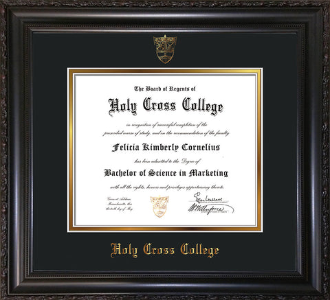 Image of Holy Cross College Diploma Frame - Vintage Black Scoop - w/Embossed HCC Seal & Name - Black on Gold mat