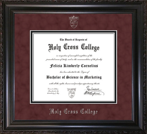 Image of Holy Cross College Diploma Frame - Vintage Black Scoop - w/Silver Embossed HCC Seal & Name - Maroon Suede on Black mat