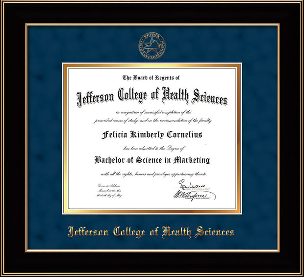 Image of Jefferson College of Health Sciences Diploma Frame - Black Lacquer - w/JCHS Embossed Seal & Name - Navy Suede on Gold mat