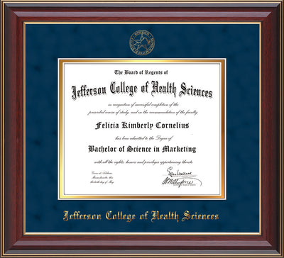 Image of Jefferson College of Health Sciences Diploma Frame - Cherry Lacquer - w/JCHS Embossed Seal & Name - Navy Suede on Gold mat