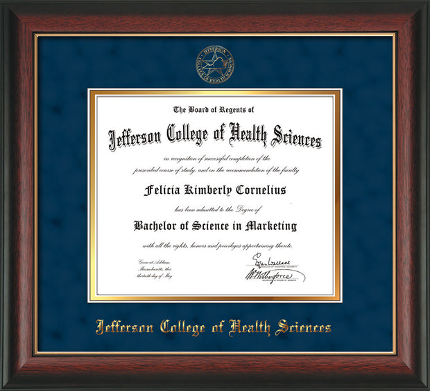 Image of Jefferson College of Health Sciences Diploma Frame - Rosewood w/Gold Lip - w/JCHS Embossed Seal & Name - Navy Suede on Gold mat