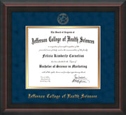 Image of Jefferson College of Health Sciences Diploma Frame - Mahogany Braid - w/JCHS Embossed Seal & Name - Navy Suede on Gold mat