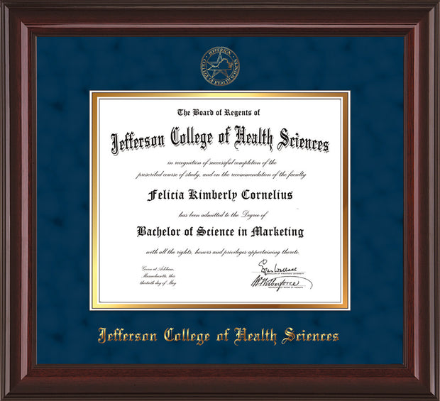 Image of Jefferson College of Health Sciences Diploma Frame - Mahogany Lacquer - w/JCHS Embossed Seal & Name - Navy Suede on Gold mat