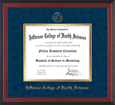 Image of Jefferson College of Health Sciences Diploma Frame - Cherry Reverse - w/JCHS Embossed Seal & Name - Navy Suede on Gold mat