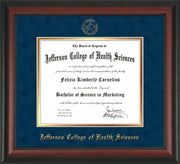 Image of Jefferson College of Health Sciences Diploma Frame - Rosewood - w/JCHS Embossed Seal & Name - Navy Suede on Gold mat