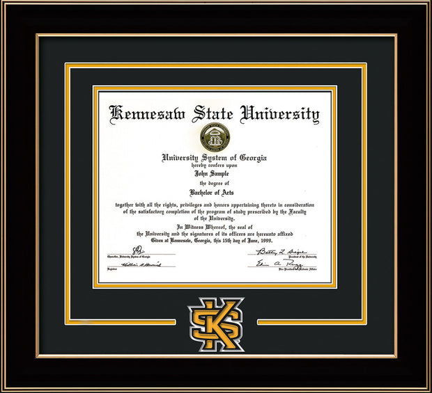 Image of Kennesaw State University Diploma Frame - Black Lacquer - 3D Laser KS Logo Cutout - Black on Gold mat