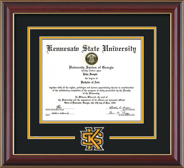 Kennesaw State University Diploma Frame - Cherry Lacquer - 3D Laser KS Logo Cutout - Black on Gold mat
