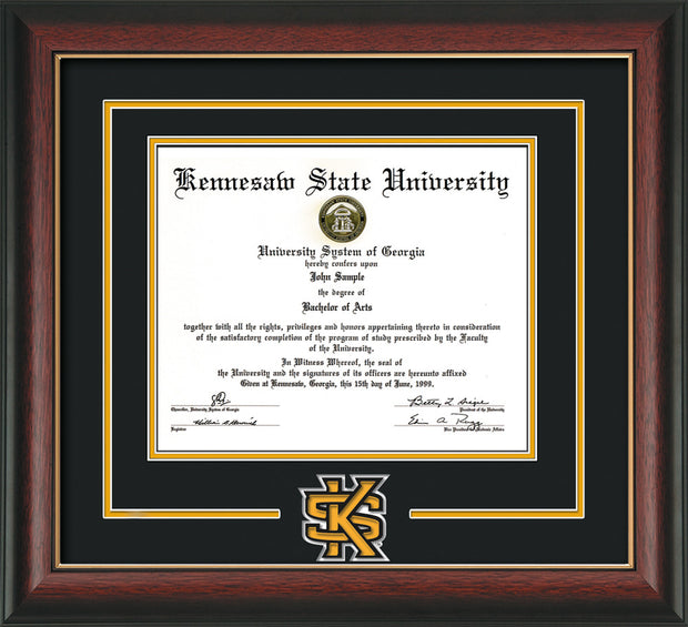 Image of Kennesaw State University Diploma Frame - Rosewood w/Gold Lip - 3D Laser KS Logo Cutout - Black on Golden Yellow mat