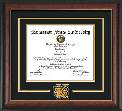 This is a Kennesaw State University Diploma Frame - Rosewood with Gold Lip - 3D Laser KS Logo Cutout - Black on Gold mat