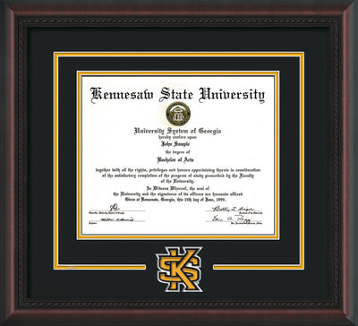 Image of Kennesaw State University Diploma Frame - Mahogany Braid - 3D Laser KS Logo Cutout - Black on Golden Yellow mat