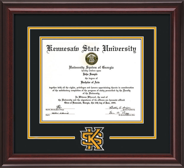 Image of Kennesaw State University Diploma Frame - Mahogany Lacquer - 3D Laser KS Logo Cutout - Black on Golden Yellow mat
