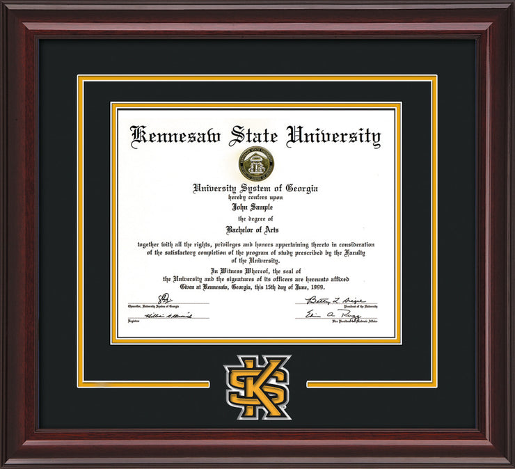 This is the Kennesaw State University Diploma Frame - Mahogany Lacquer - 3D Laser KS Logo Cutout - Black on Gold mat