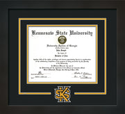 Image of Kennesaw State University Diploma Frame - Flat Matte Black - 3D Laser KS Logo Cutout - Black on Golden Yellow mat