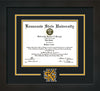 This is the Kennesaw State University Diploma Frame - Flat Matte Black - 3D Laser KS Logo Cutout - Black on Gold mat