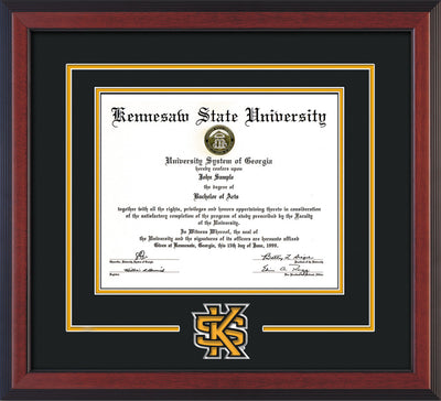 Image of Kennesaw State University Diploma Frame - Cherry Reverse - 3D Laser KS Logo Cutout - Black on Golden Yellow mat