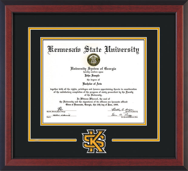 This is the Kennesaw State University Diploma Frame - Cherry Reverse - 3D Laser KS Logo Cutout - Black on Gold mat