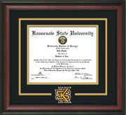 Image of Kennesaw State University Diploma Frame - Rosewood - 3D Laser KS Logo Cutout - Black on Golden Yellow mat