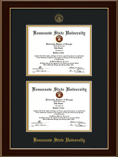 Image of Kennesaw State University Diploma Frame - Black Lacquer - with KSU Seal - Double Diploma - Black on Gold mat