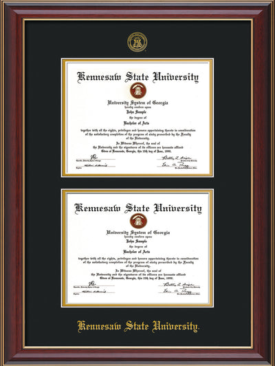 Image of Kennesaw State University Diploma Frame - Cherry Lacquer - with KSU Seal - Double Diploma - Black on Gold mat