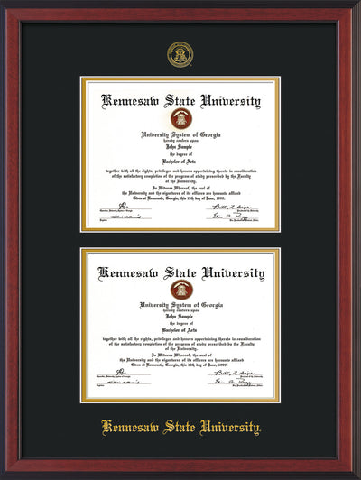 Image of Kennesaw State University Diploma Frame - Cherry Reverse - with KSU Seal - Double Diploma - Black on Gold mat