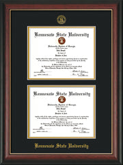 Image of Kennesaw State University Diploma Frame - Rosewood w/Gold Lip - with KSU Seal - Double Diploma - Black on Gold mat