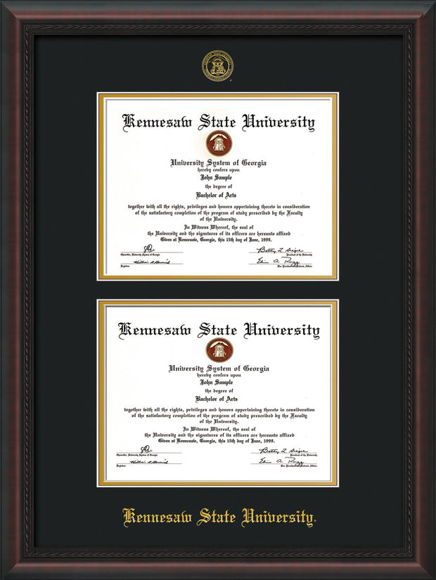 Image of Kennesaw State University Diploma Frame - Mahogany Braid - with KSU Seal - Double Diploma - Black on Gold mat