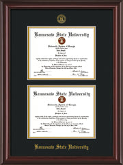 Image of Kennesaw State University Diploma Frame - Mahogany Lacquer - with KSU Seal - Double Diploma - Black on Gold mat