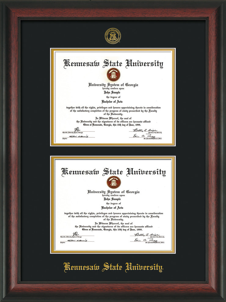 Image of Kennesaw State University Diploma Frame - Rosewood - with KSU Seal - Double Diploma - Black on Gold mat