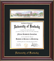 Image of University of Kentucky Diploma Frame - Cherry Lacquer - w/Embossed School Name - Campus Collage - Black on Gold mat