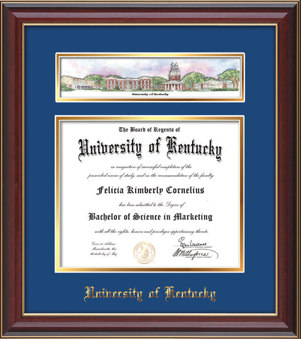 Image of the University of Kentucky Diploma Frame - UKy - Cherry Lacquer - w/Embossed School Name - Campus Collage - Blue on Gold mat