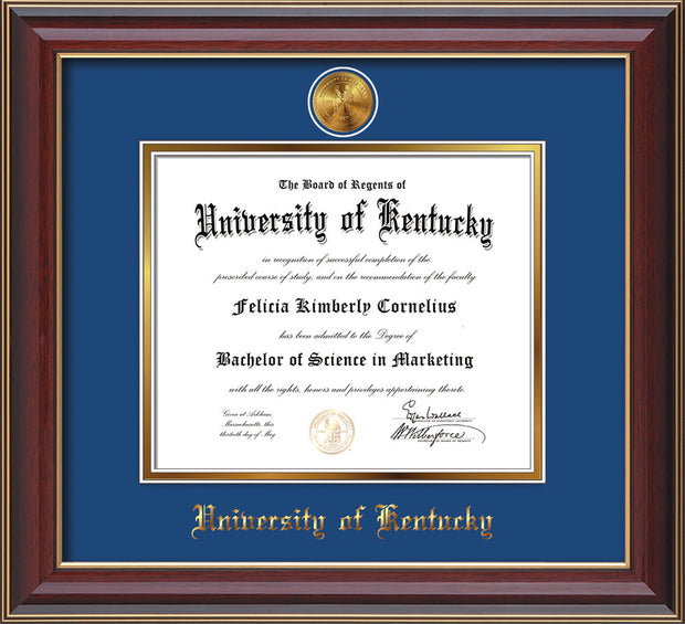 Image of University of Kentucky Diploma Frame - Cherry Lacquer - w/24k Gold-Plated Medallion UKY Name Embossing - Royal Blue on Gold mats