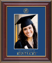 Image of University of Kentucky 5 x 7 Photo Frame - Cherry Lacquer - w/Official Embossing of UKy Seal & Wordmark - Single Royal Blue mat
