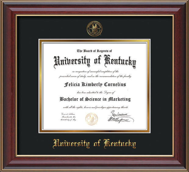 Image of University of Kentucky Diploma Frame - Cherry Lacquer - w/Embossed Seal & Name - Black on Gold mat