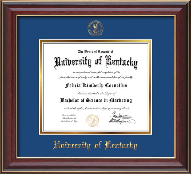 Image of University of Kentucky Diploma Frame - Cherry Lacquer - w/Embossed Seal & Name - Royal Blue on Gold mat