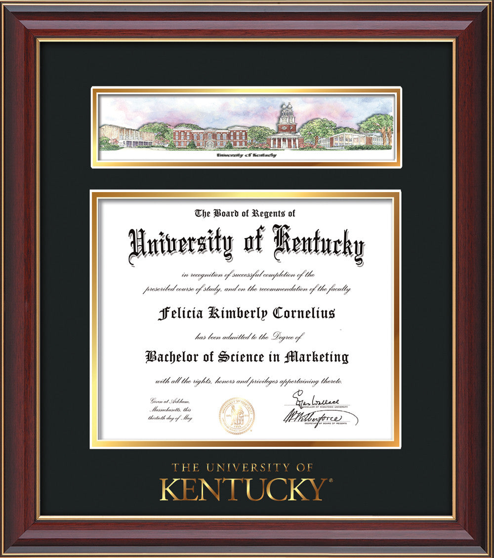 University of Kentucky Diploma Frame-Cherrt Lacquer-Collage-Wordmark ...