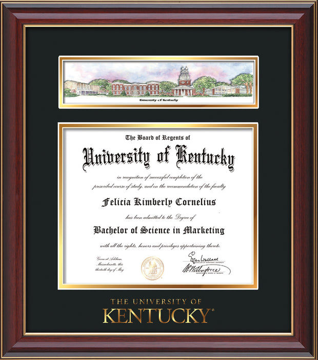 Image of University of Kentucky Diploma Frame - Cherry Lacquer - w/Embossed School Wordmark Only - Campus Collage - Black on Gold mat