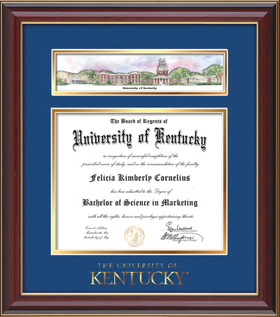 Image of University of Kentucky Diploma Frame - Cherry Lacquer - w/Embossed School Wordmark Only - Campus Collage - Royal Blue on Gold mat