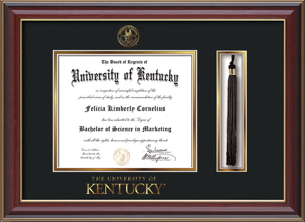 Image of University of Kentucky Diploma Frame - Cherry Lacquer - w/Embossed Seal & Wordmark - Tassel Holder - Black on Gold mat