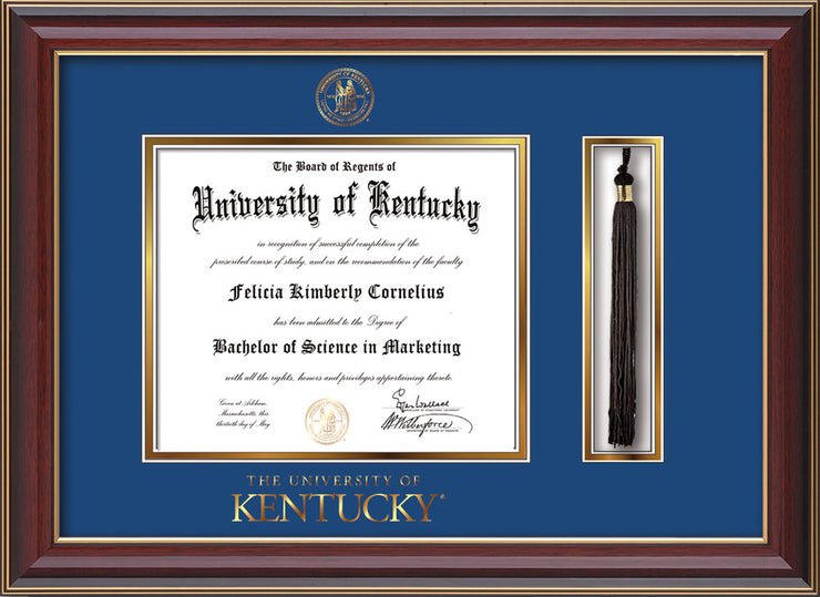 Image of University of Kentucky Diploma Frame - Cherry Lacquer - w/Embossed Seal & Wordmark - Tassel Holder - Royal Blue on Gold mat