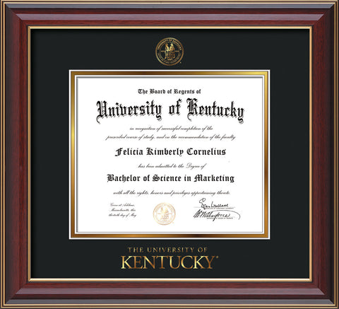 Image of University of Kentucky Diploma Frame - Cherry Lacquer - w/Embossed Seal & Wordmark - Black on Gold mat